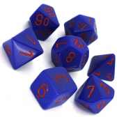 Purple & Red Opaque Polyhedral 7 Dice Set